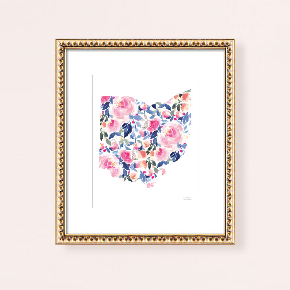 State Of Ohio Watercolor Art Print