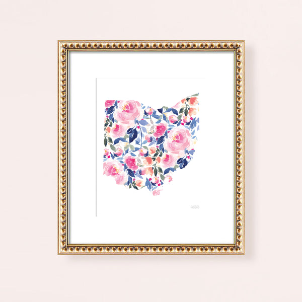 Watercolor Painting State Of Ohio Art Print, Ohio Shaped Art