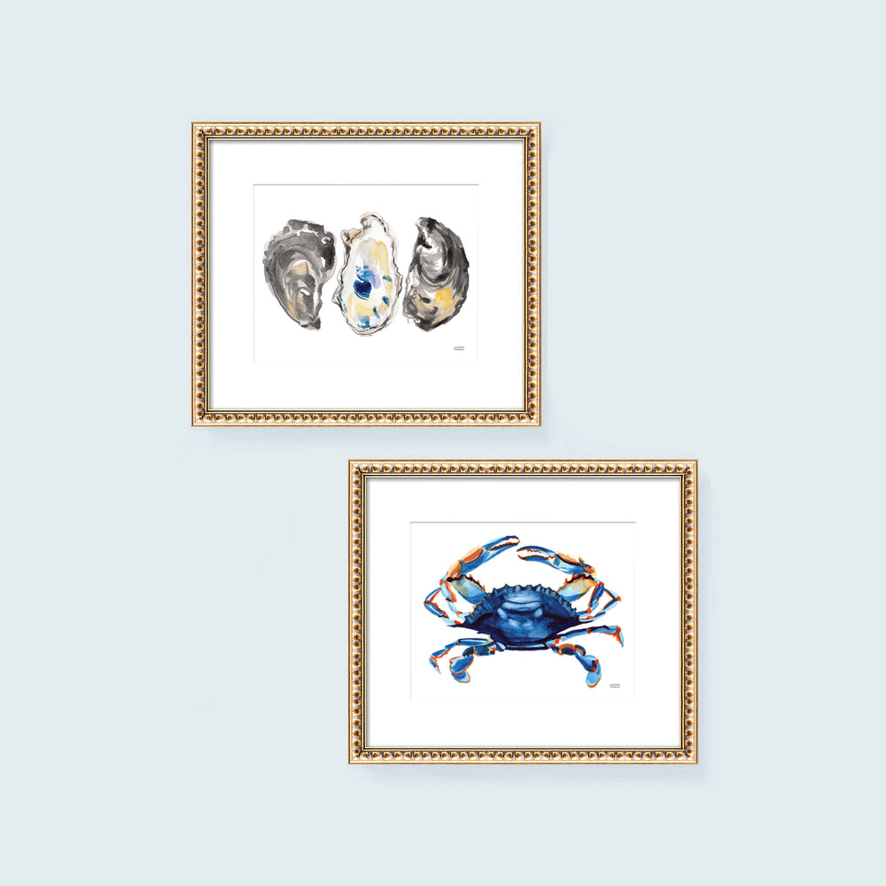 Watercolor Oysters and Blue Crab Art Print Set