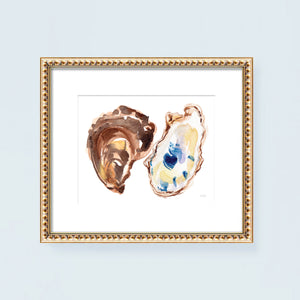 Load image into Gallery viewer, Watercolor oyster shells painting wall art print by Michelle Mospens.