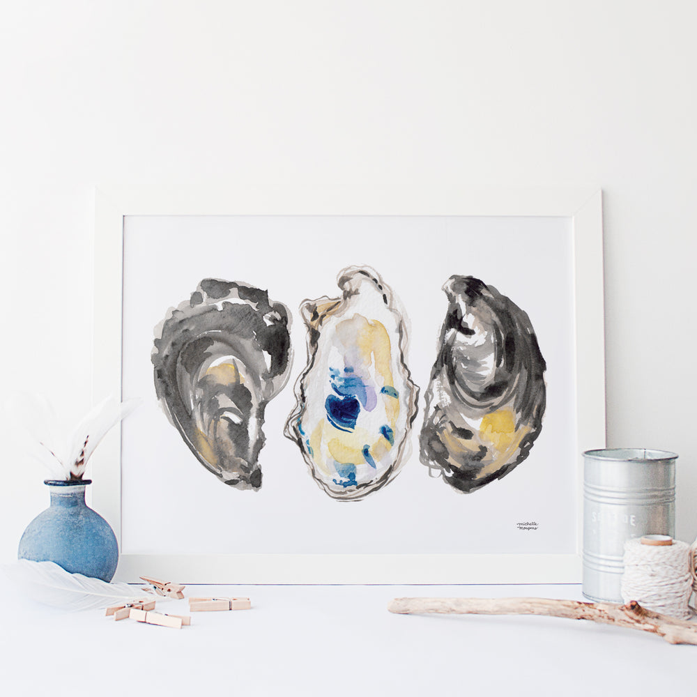 Watercolor oyster shells painting wall art print by Michelle Mospens.