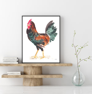 Watercolor Chicken Art Print