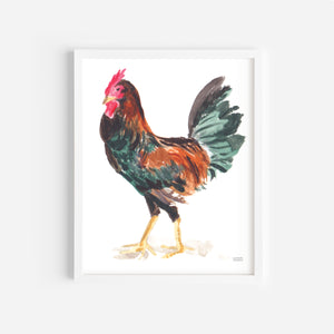 Load image into Gallery viewer, Watercolor Chicken Art Print