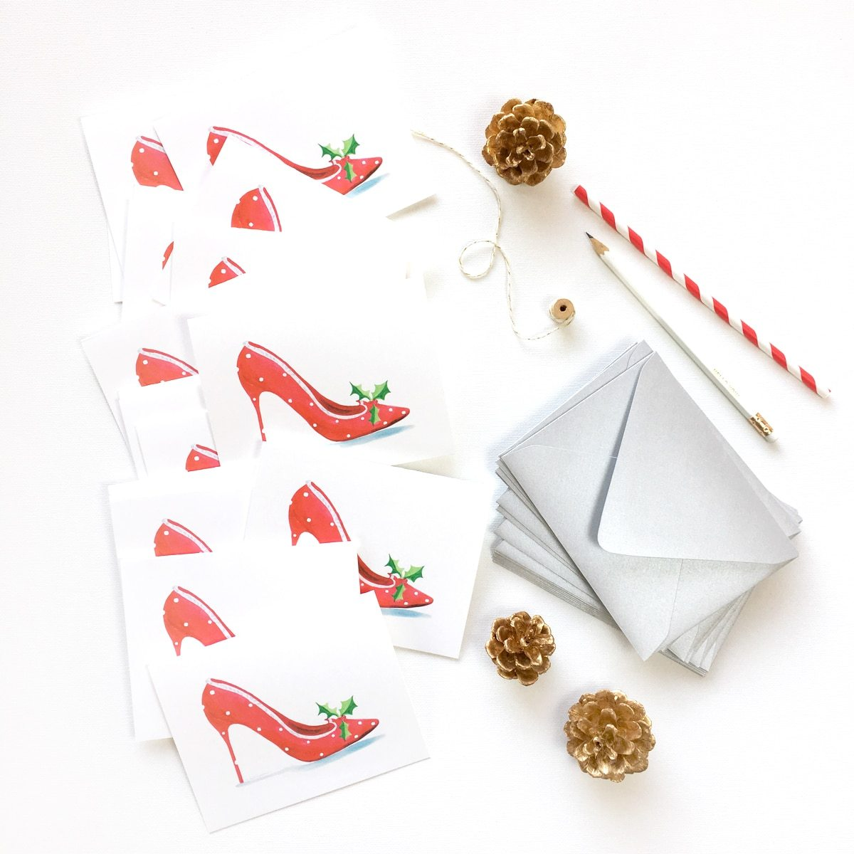 HOLLY JOLLY HIGH HEEL CHRISTMAS CARDS
