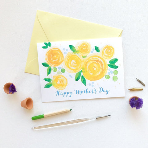 YELLOW ROSE BLOOMS MOTHER'S DAY CARD