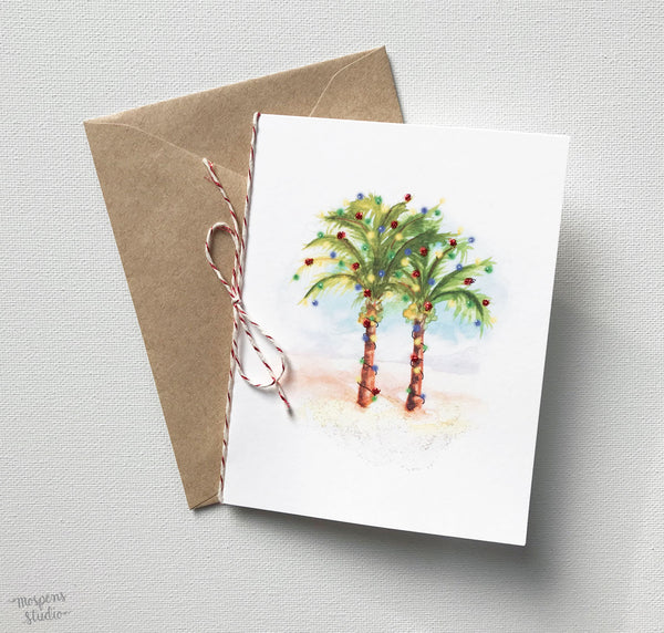 HAND PAINTED PALM TREES CHRISTMAS CARDS
