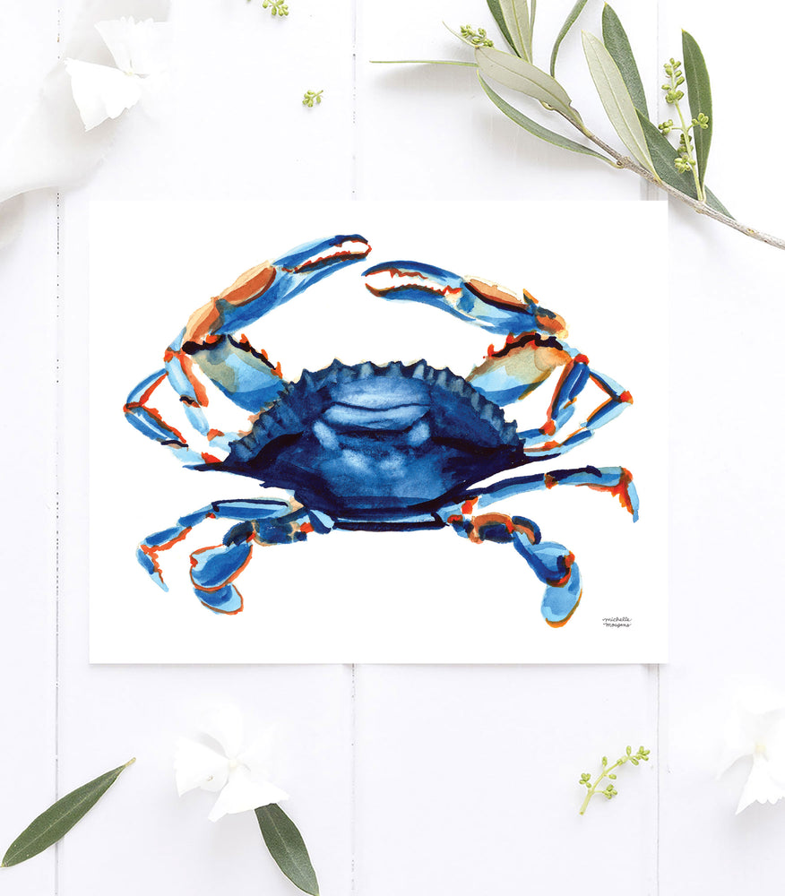 Watercolor blue crab painting wall art print by artist Michelle Mospens.