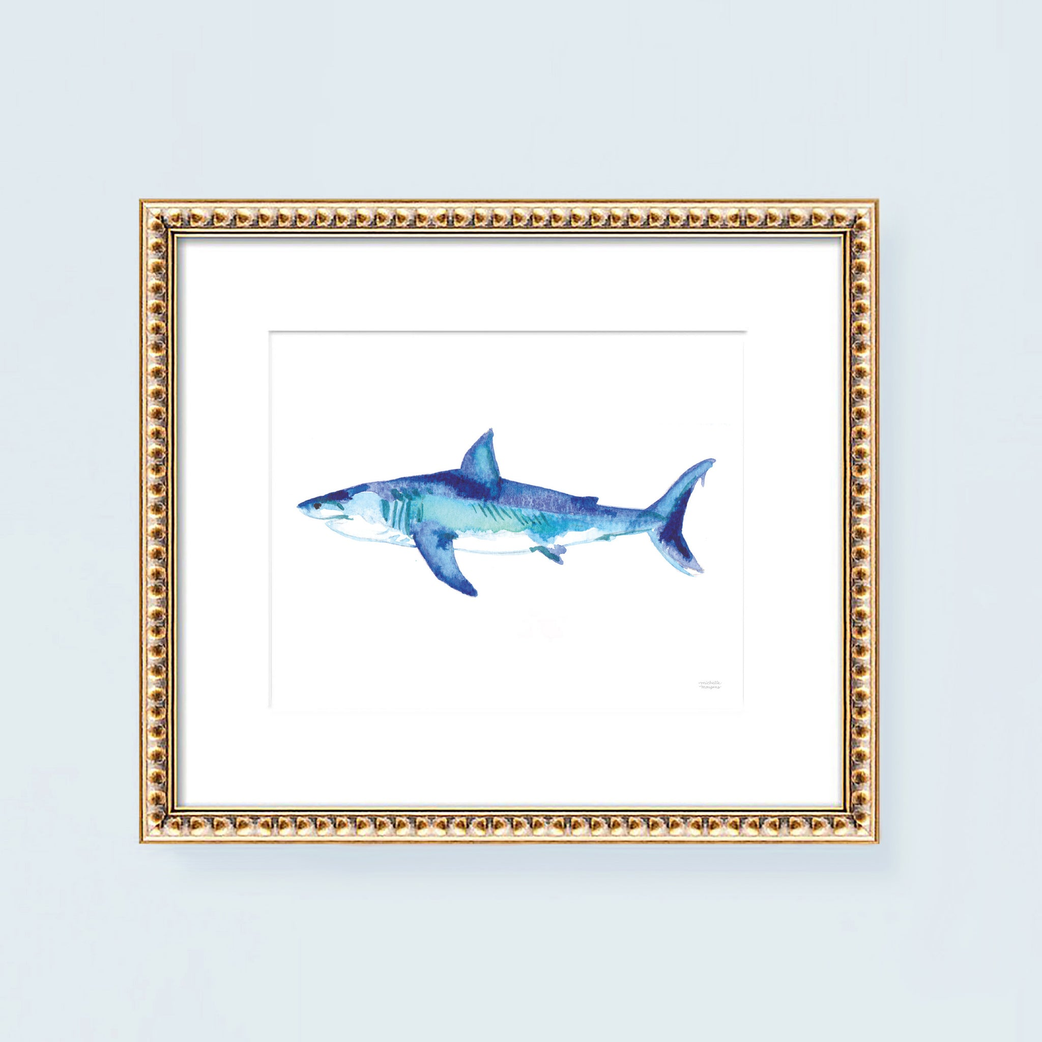 Watercolor Blue Shark Art Print