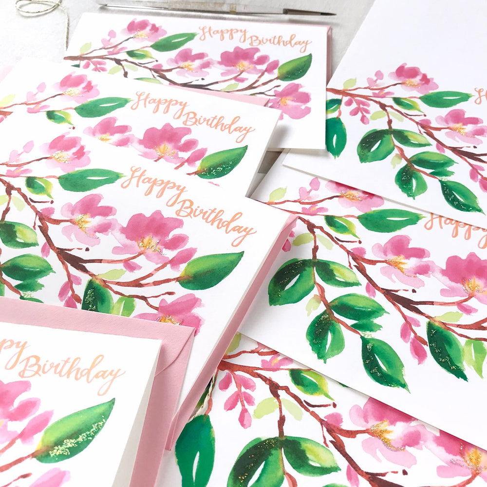 Load image into Gallery viewer, PAINTERLY CHERRY BLOSSOM BIRTHDAY CARD