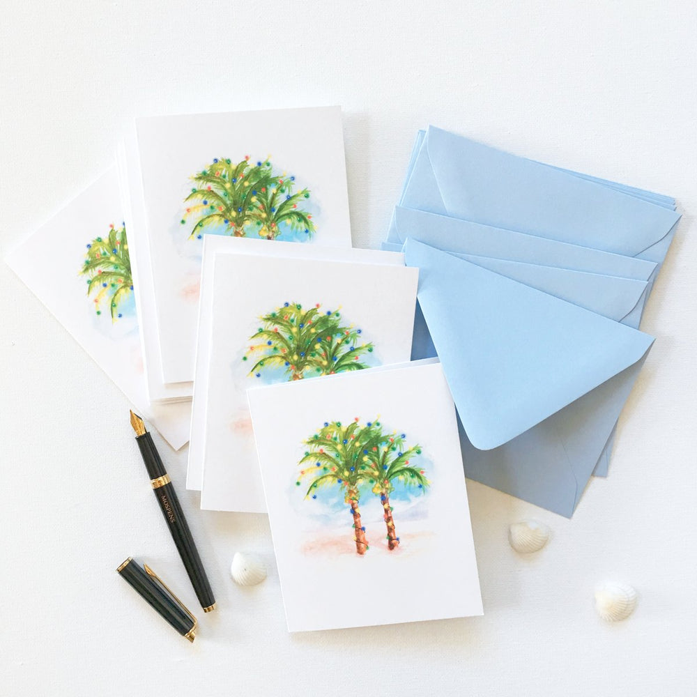 Load image into Gallery viewer, COCONUT PALM TREES CHRISTMAS CARD SET