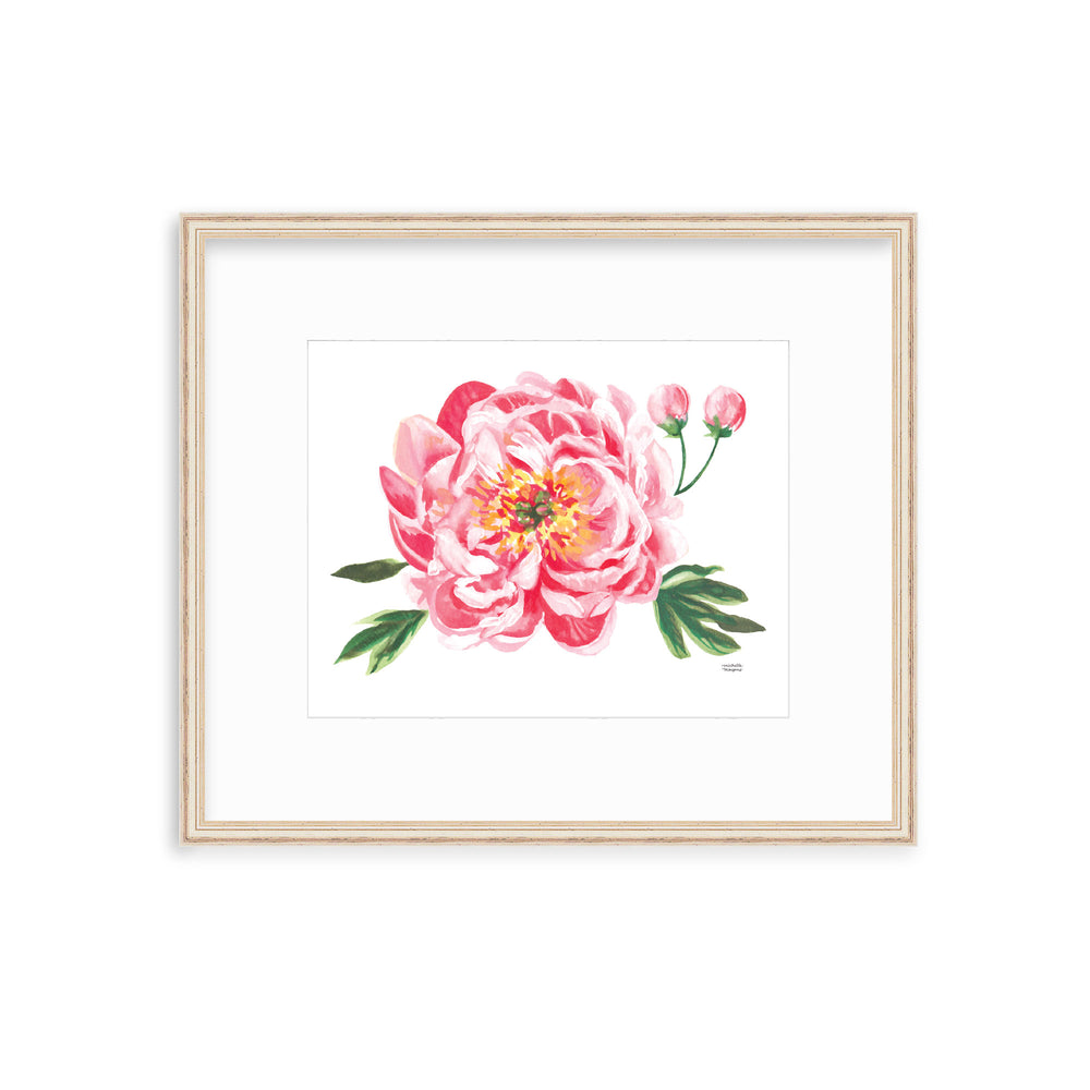 Red Coral Peony Floral Art Print