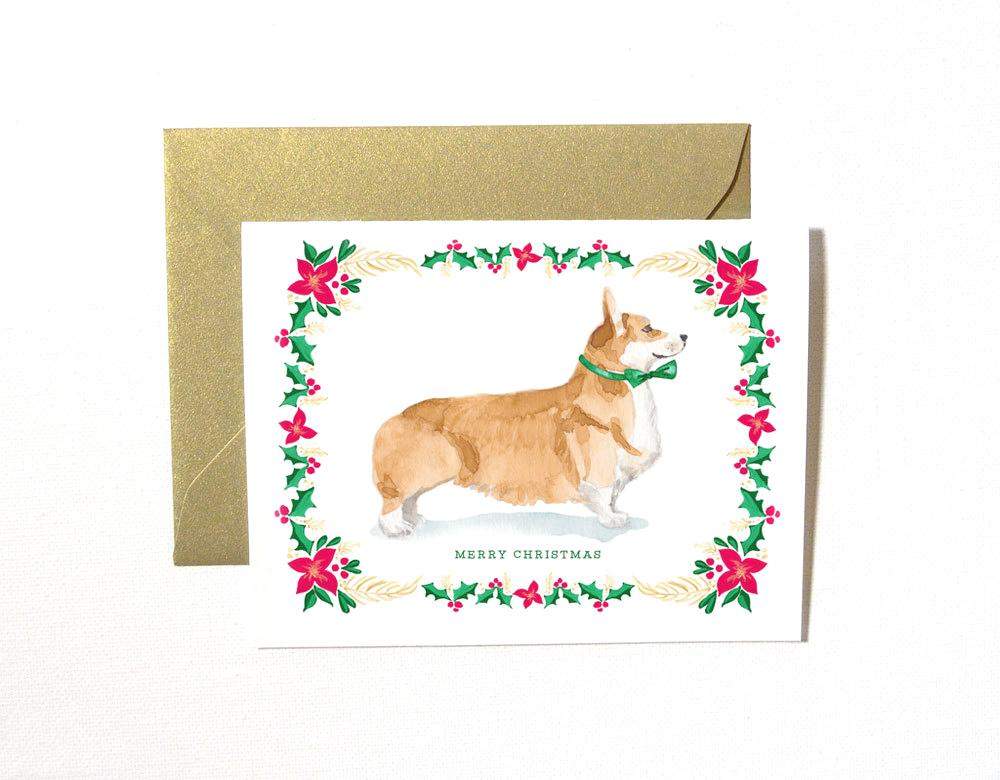 TAN CORGI DOG CHRISTMAS CARD SET
