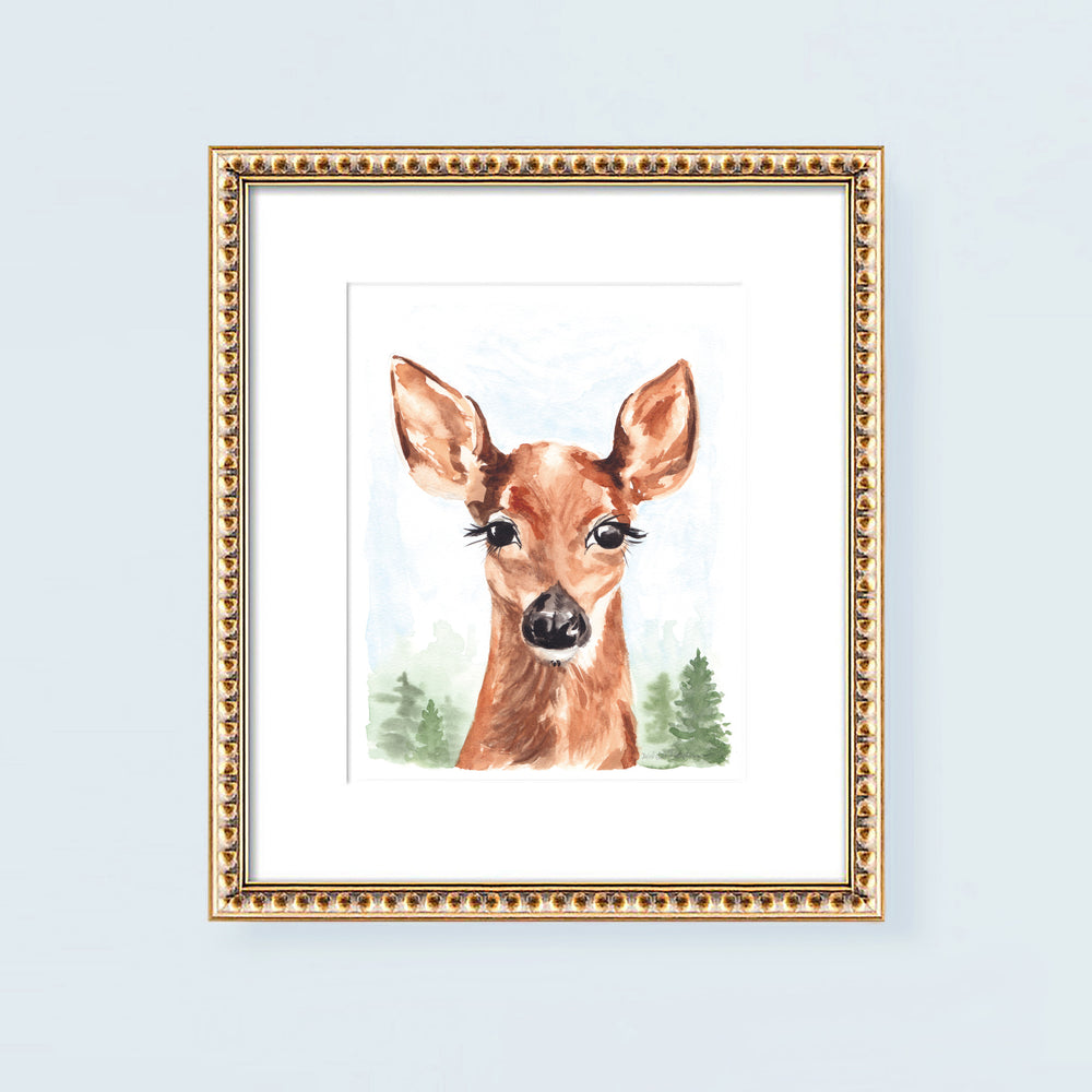 Watercolor deer painting wall art print.