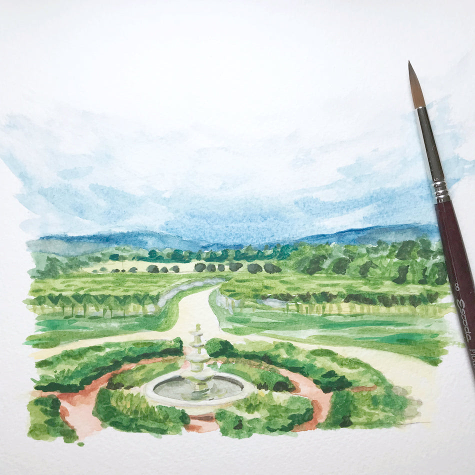 Custom Hand-painted Landscape Illustration
