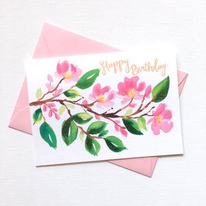 PAINTERLY CHERRY BLOSSOM BIRTHDAY CARD