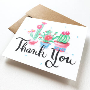 FESTIVE CACTUS THANK YOU CARD SET