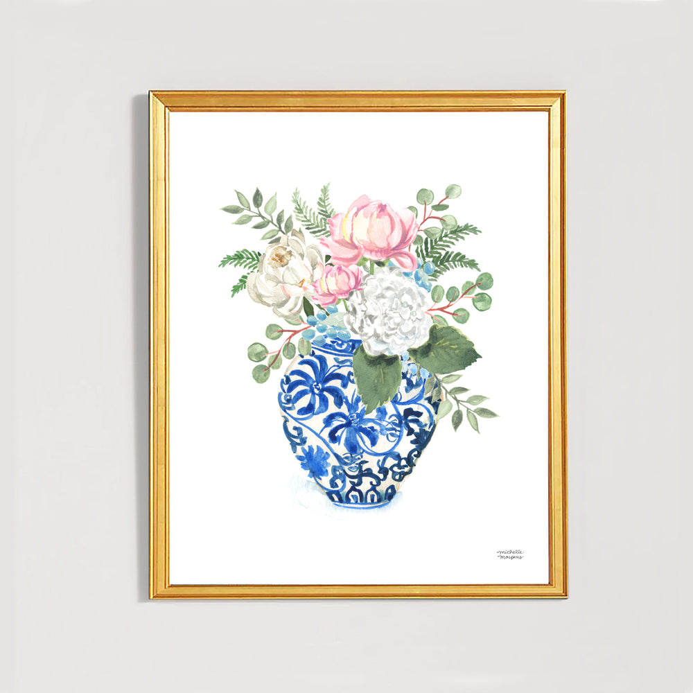 Watercolor Ginger Jar No. 7 with Flowers Art Print