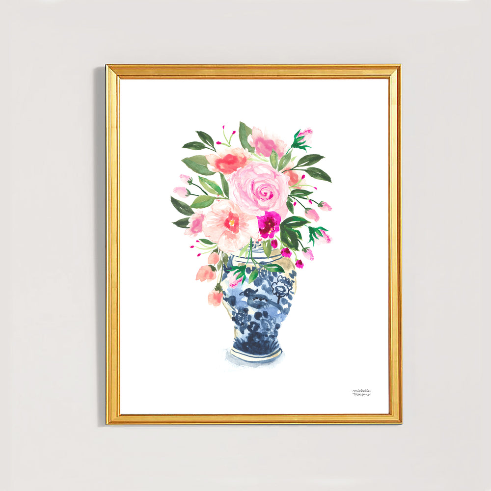 Watercolor Ginger Jar No. 9 with Flowers Art Print