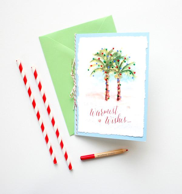 HANDMADE PALM TREES CHRISTMAS CARD