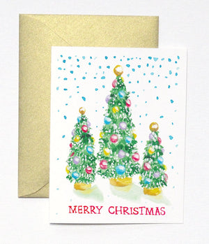 CHRISTMAS TREES CHRISTMAS CARD SET