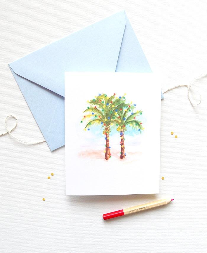 COCONUT PALM TREES CHRISTMAS CARD SET