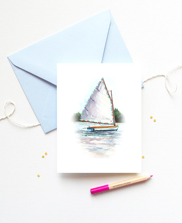 NAUTICAL SAILBOAT CHRISTMAS CARD SET