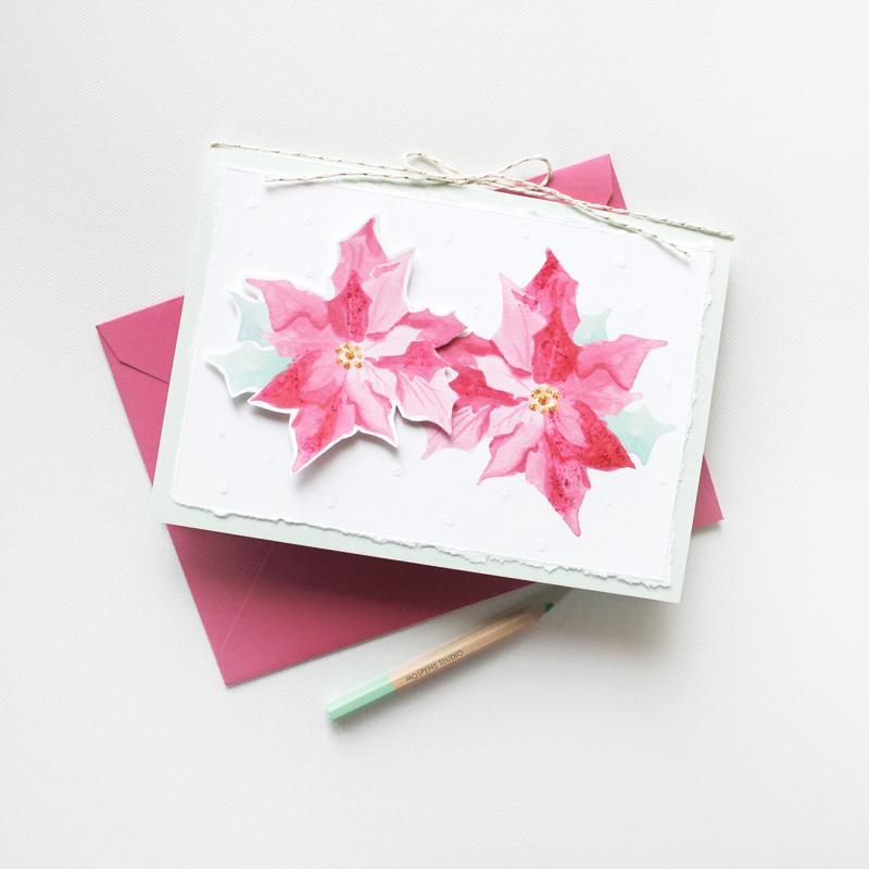HANDMADE POINSETTIA CHRISTMAS CARD
