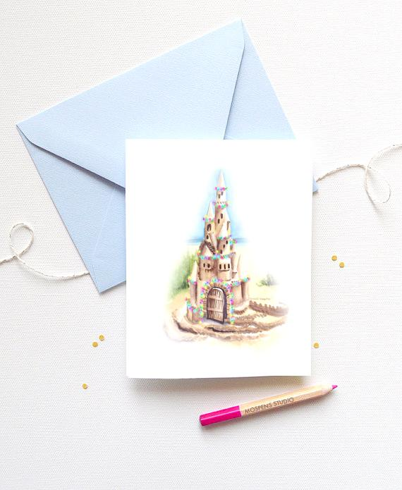 SANDCASTLE BEACH CHRISTMAS CARDS SET