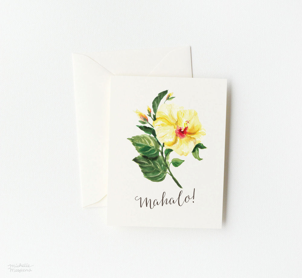 MAHALO HIBISCUS THANK YOU CARD SET