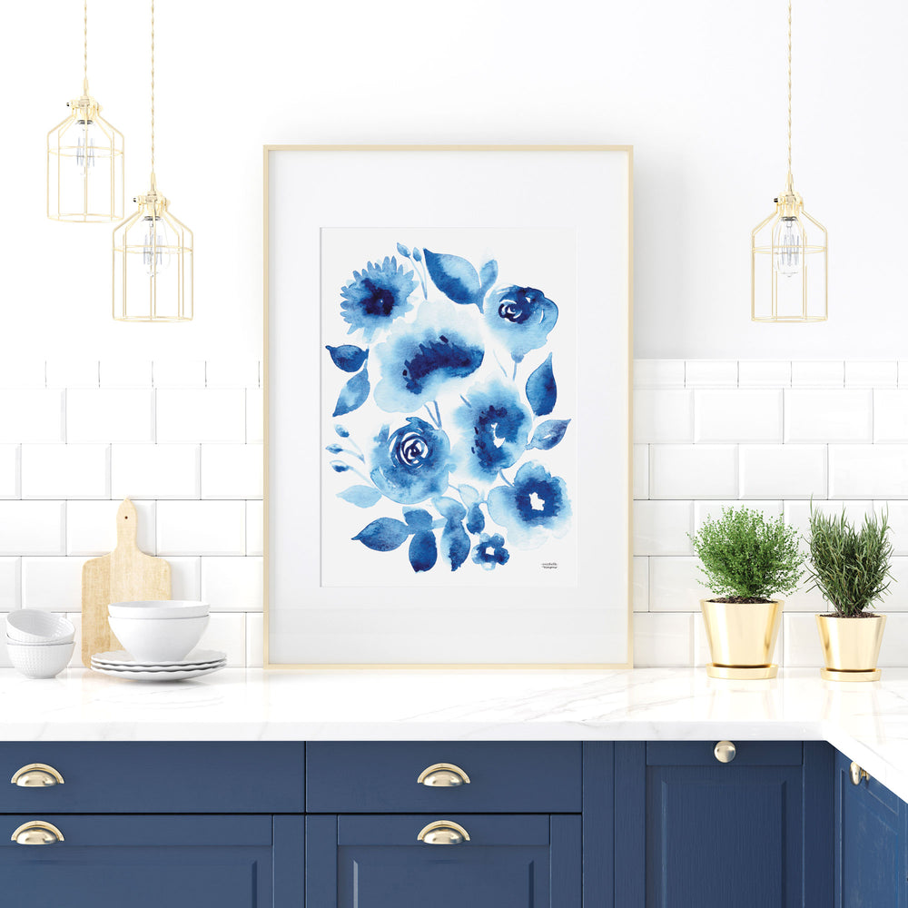 Abstract Indigo Blue Florals Watercolor Print