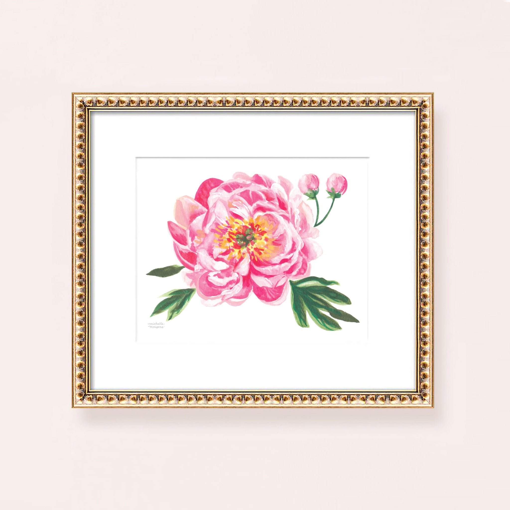 Watercolor pink peony bloom flower wall art print.