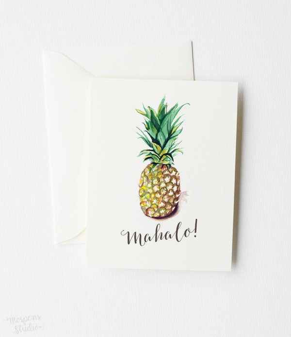 MAHALO PINEAPPLE THANK YOU CARD SET