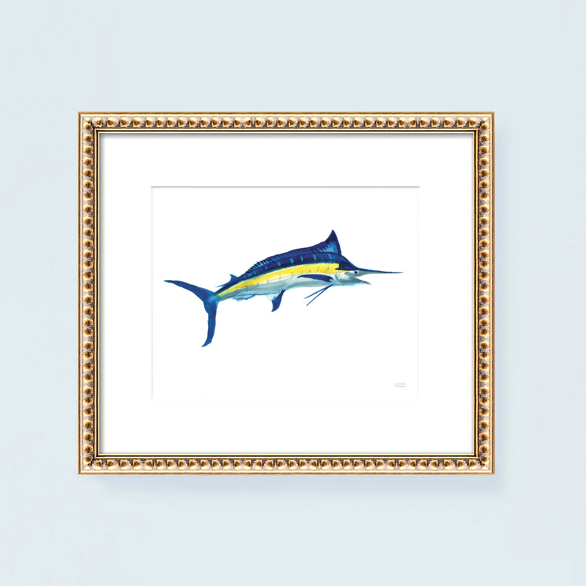 Marlin fish bill fish watercolor painting art print.