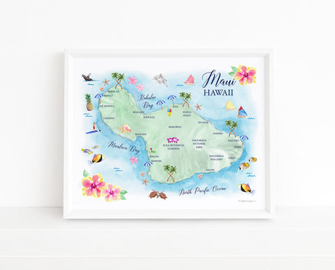 Maui Hawaii Map Art Print