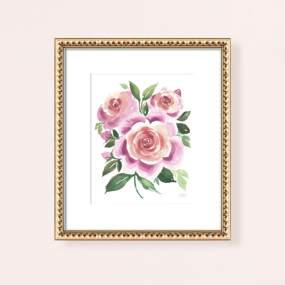 Load image into Gallery viewer, Mauve Roses Watercolor Flowers Wall Art Print