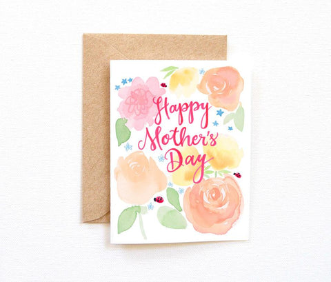 LADYBUGS AND FLOWERS MOTHER'S DAY CARD
