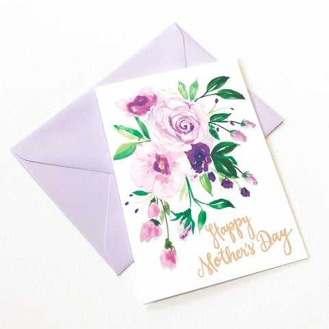 LARGE PURPLE POSY MOTHER'S DAY CARD