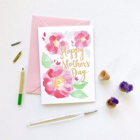 PAINTED PEONY BLOOMS MOTHER'S DAY CARD