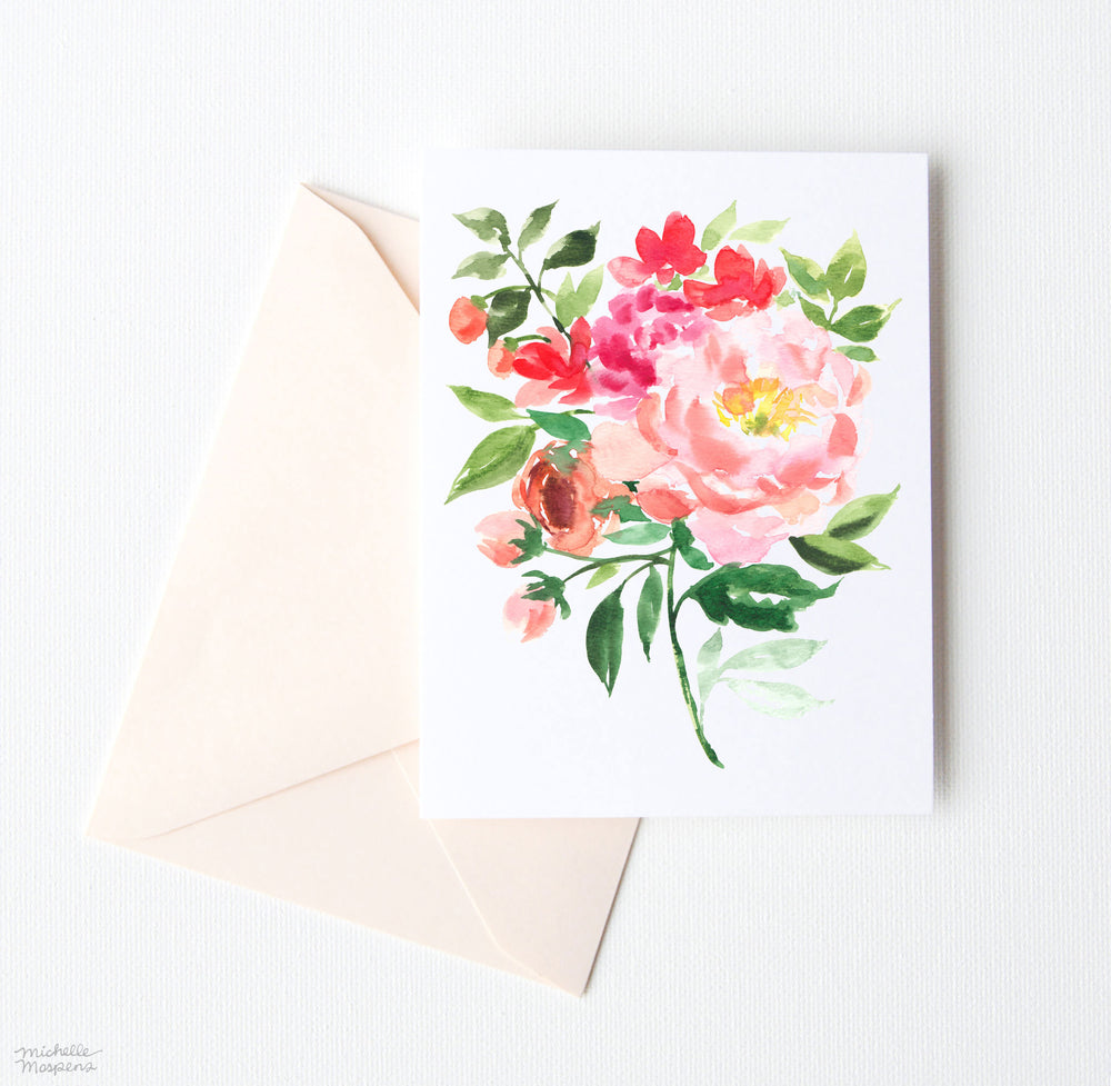 PEONY AND FRIENDS NOTE CARDS SET