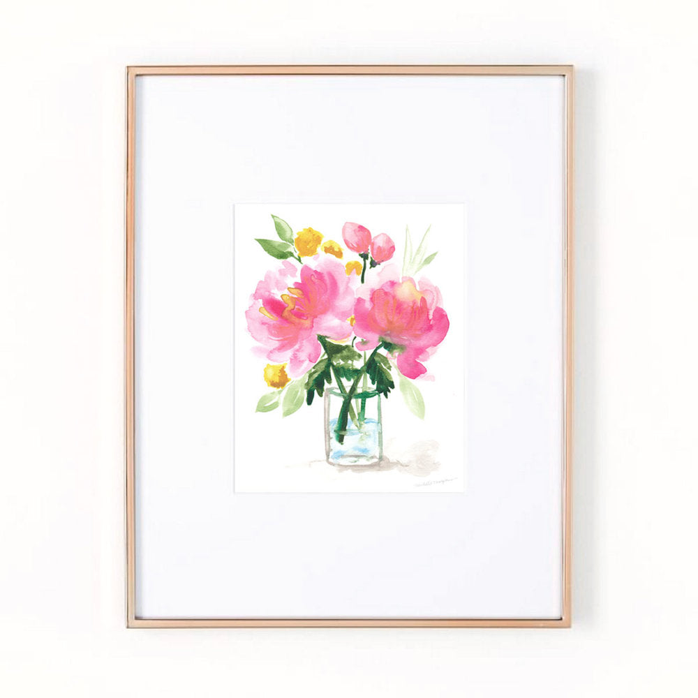 Peony Flowers Watercolor Wall Art Print