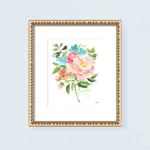 Spring Blooming Bouquet Watercolor Wall Art Print