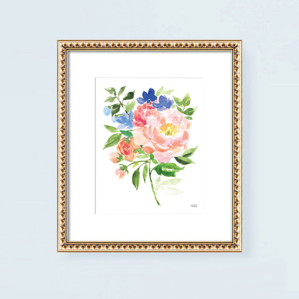 Summer Blooming Bouquet Watercolor Wall Art Print