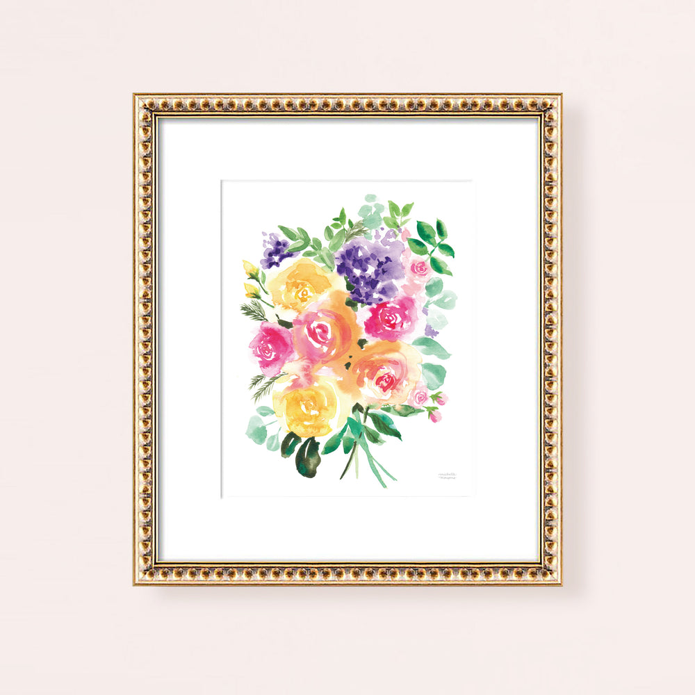 Summery Bouquet Colorful Watercolor Art Print