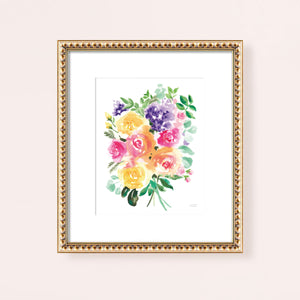 Colorful Watercolor Flowers Wall Art Print