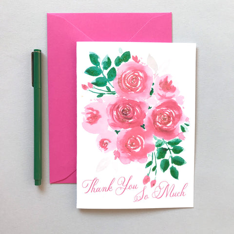 PAINTERLY PINK POSEY THANK YOU CARD