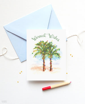 Warmest Wishes tropical holiday cards with palm trees by artist Michelle Mospens.