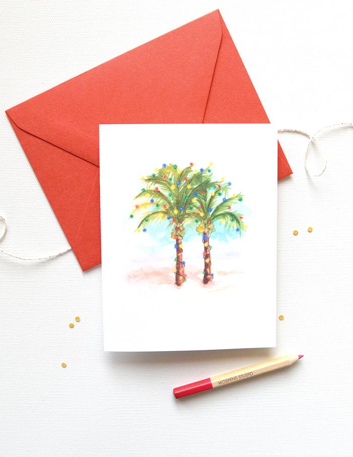 PALM TREES CHRISTMAS CARD SET