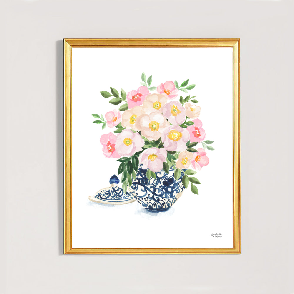 Watercolor Ginger Jar No. 8 with Flowers Art Print