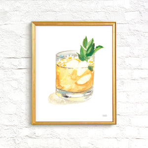 Whiskey Smash Watercolor Painting Print Kitchen Wall Art Home Bar Sign