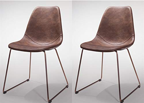 GTU Furniture Set of 2 Retro & Antique Elegant Dining Chair, Brown PVC Leather, Metal Base